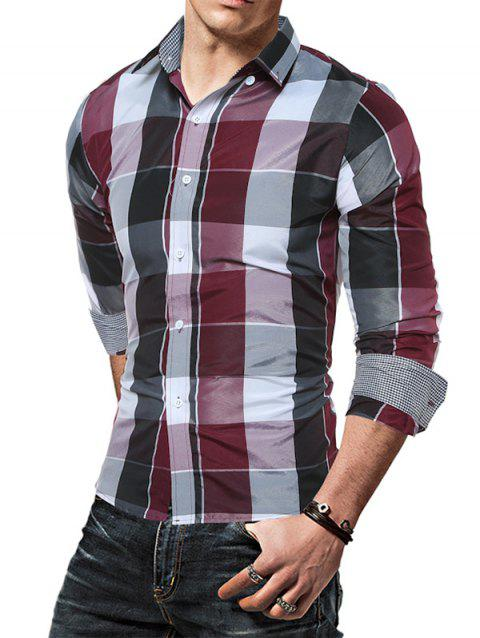 Men Plaid Slim Long Sleeve Shirt - RED 2XL