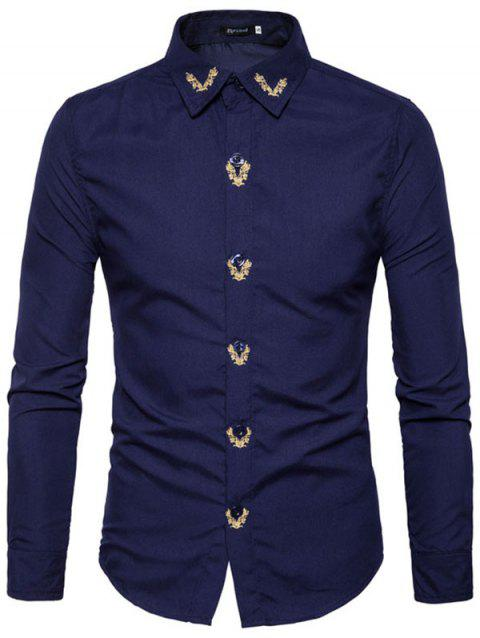 Men Embroidered Long Sleeve Casual Shirt - CADETBLUE S