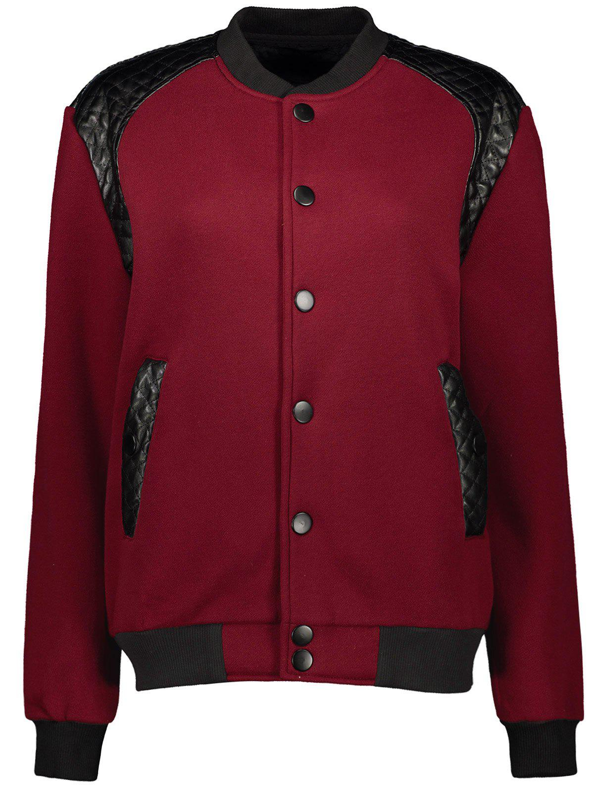 PU-Leather Splicing Stand Collar Jacket - CLARET M
