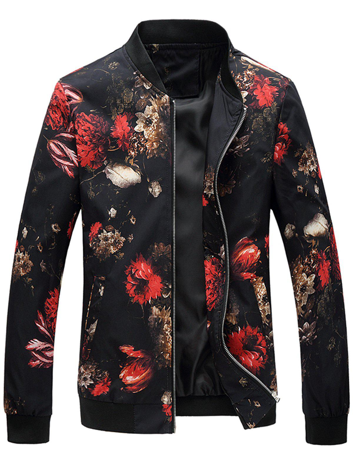 Floral Printed Zip Up Jacket, Black