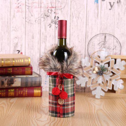 Christmas Clothes Hotel Restaurant Decoration Wine Cover Bow Wine Bottle Cover - LAVA RED