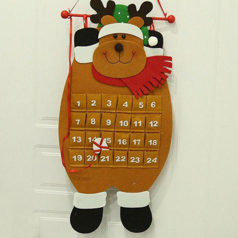 Christmas Decoration Santa Snowman Cloth Calendar Ornament - LIGHT BROWN ELK CALENDAR