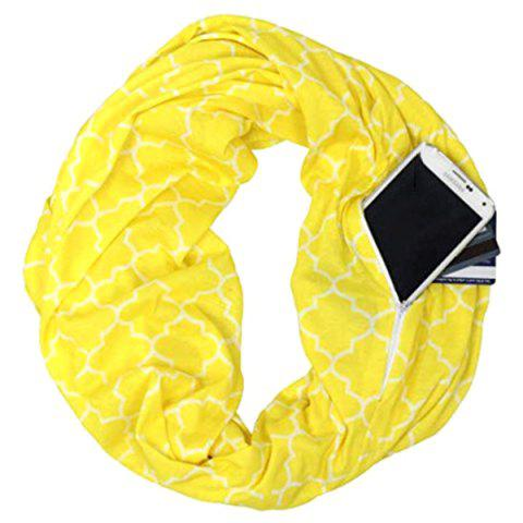 Four-petal Flower Print Knit Infinite Zip Pocket Neckerchief - YELLOW