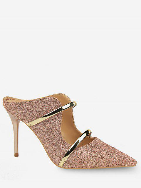 Glitter Double Straps Pointed Toe Slingback Pumps - CHAMPAGNE GOLD EU 40