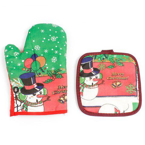 Christmas Anti-scalding Insulation Cartoon Gloves - CLOVER GREEN