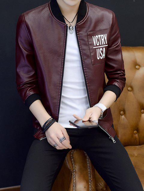 Men Jacket Casual Wild PU Leather Coat - RED WINE M