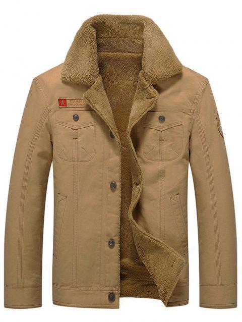Men's Parka Plus Velvet Thick Slim Cotton - KHAKI 3XL
