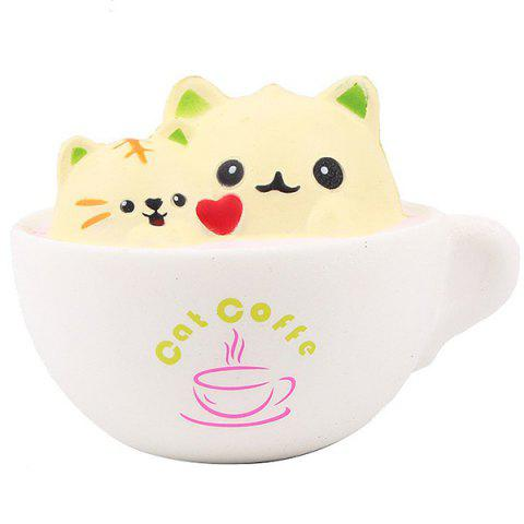 PU Slow Rebound Double Cat Cup Decompression Toy - CORN YELLOW