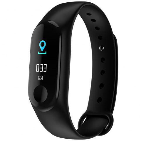 M3PLUS 0.96 inches Smart Bracelet Bluetooth 4.0 Heart Rate Monitoring Blood Pressure Functions - BLACK