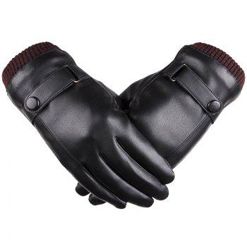 Men Touch Screen Autumn And Winter Washed Leather Warm Gloves