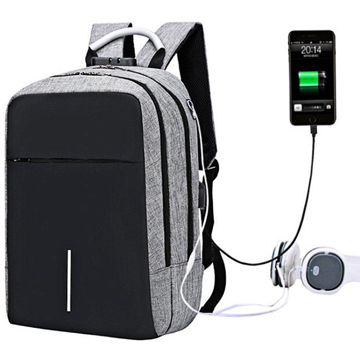 Large Capacity Burglar-proof Oxford Cloth Backpack with USB Charging Port - GRAY CLOUD