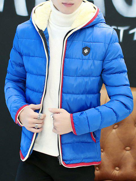 Couple'S Warm Downs Jacket Casual Thick Cotton Hat Can Be Down Parka Coat  Outdoor Sport Hooded - ROYAL BLUE M