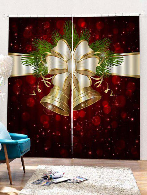 2PCS Christmas Bell Printed Window Curtains - RED WINE W33.5 X L79 INCH X 2PCS