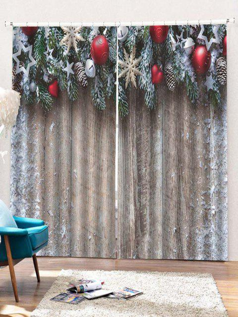 2PCS Christmas Wooden Star Printed Window Curtains - BURLYWOOD W33.5 X L79 INCH X 2PCS
