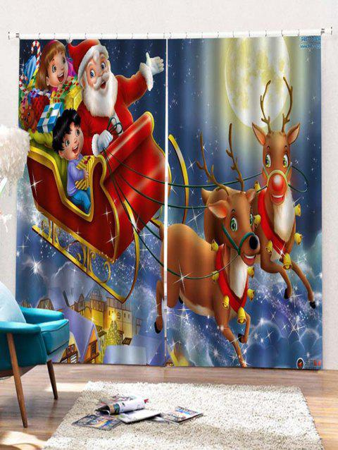 2PCS Father Christmas Deer Window Curtains - DEEP BLUE W30 X L65 INCH X 2PCS