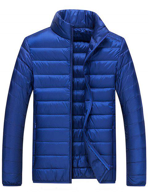 Men's Jacket Down Coat Solid Color Stand Collar Youth Warm Winter - CADETBLUE XL