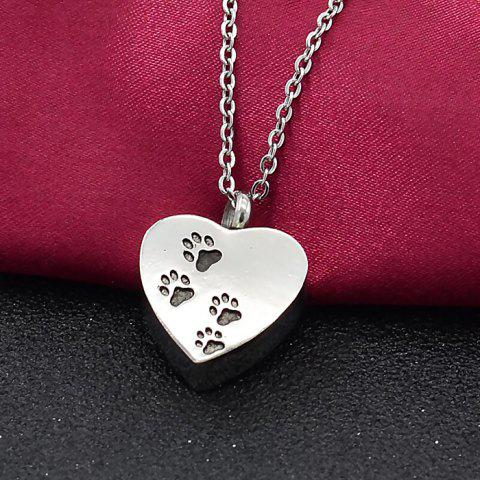 Heart-shaped Pet Dog Claw Footprints Urn Box Necklace Commemorate Loved Hair Pendant - SILVER