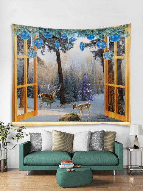 Window Christmas Forest Print Tapestry Wall Hanging Decoration - multicolor W91 X L71 INCH