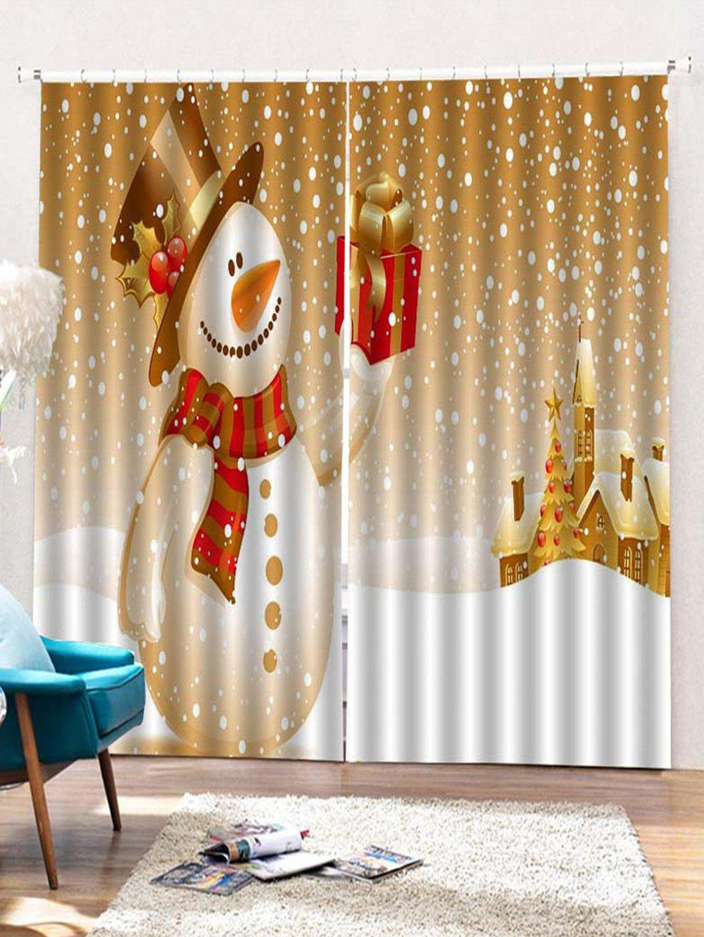 2PCS Christmas Snowman Gift Printed Window Curtains - GOLDEN BROWN W30 X L65 INCH X 2PCS