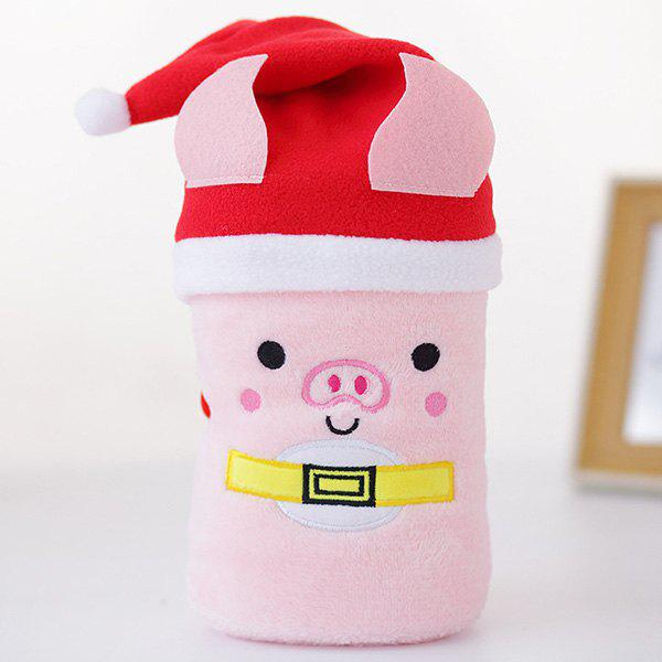 Christmas Gifts Creative Cartoon Santa Elk Snowman Pig Hat Flannel Blanket - PIG PINK PIG