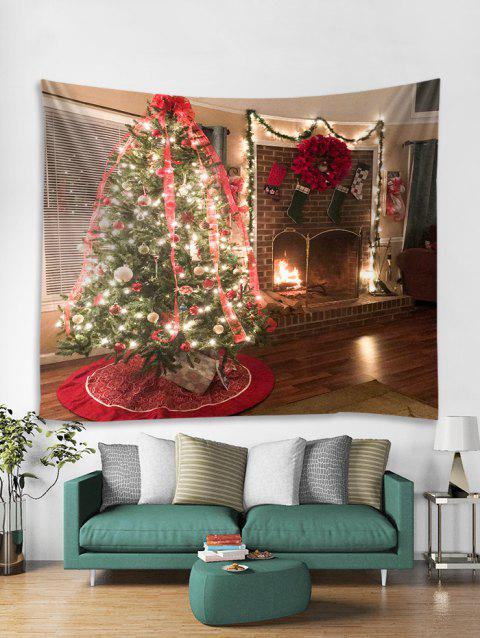554f214d7a Christmas Tree Fireplace Print Tapestry Wall Hanging Decor - multicolor W79  X L71 INCH