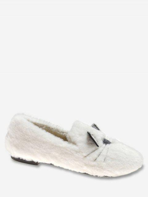Kitty Print Faux Fur Loafers Flats - WHITE EU 38