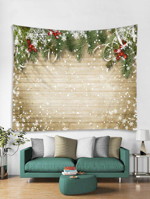 Christmas Snowflake Wooden Tapestry Art Decoration - BURLYWOOD W91 X L71 INCH