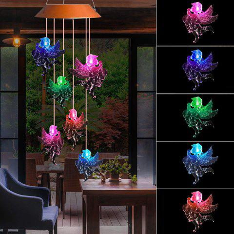 LED Solar Angel Doll Wind Chime for Garden Decoration - BROWN