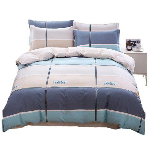 Home Comfort Simple Fashion Style Textile Combed Cotton Four-piece - multicolor A DOUBLE