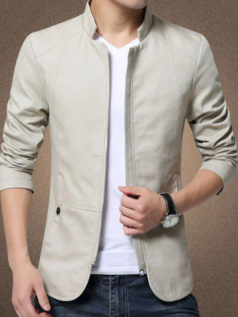 Casual Stand Collar Jacket for Man - BEIGE 2XL
