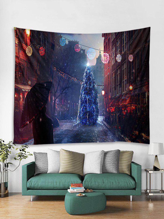 Christmas Tree Street Print Tapestry Wall Hanging Decoration - multicolor W91 X L71 INCH