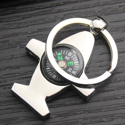 Metal Airplane Compass Car Keychain Men Personality Key Ring Creative Small Gift - SILVER