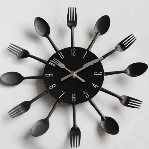 Creative Stainless Steel Knife Fork Wall Clock - BLACK