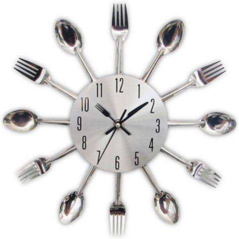 Creative Stainless Steel Knife Fork Wall Clock - SILVER