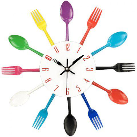 Creative Stainless Steel Knife Fork Wall Clock - multicolor A