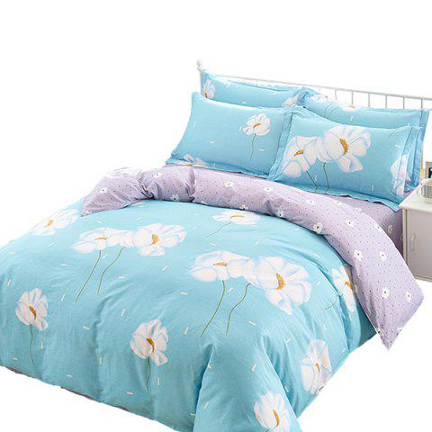 Combed Cotton Four-piece Linen Quilt Cover Beddings Fresh Literary Wind - multicolor A DOUBLE