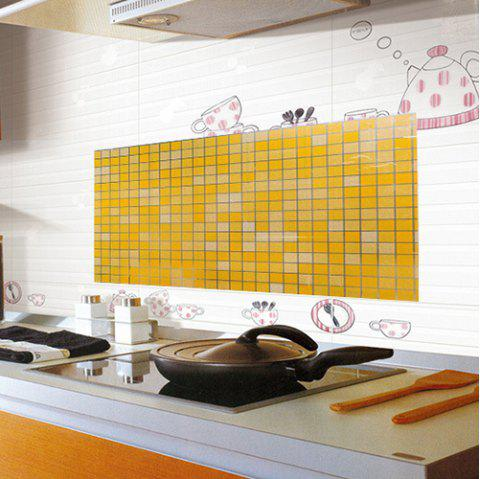 Transparent Mosaic Wall Stickers Bathroom Waterproof Wallpaper - YELLOW