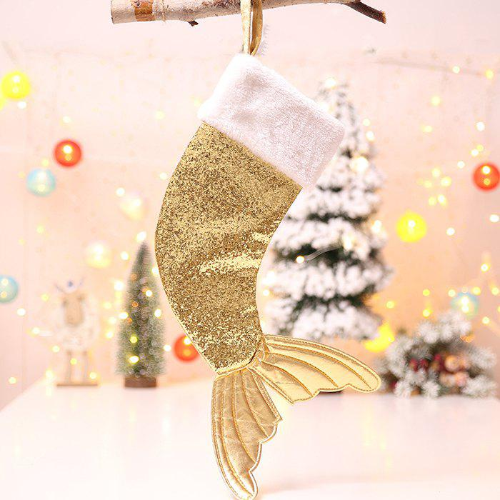 Christmas Decorations 18 Inch Sequins Christmas Stockings Fishtail Christmas Stockings Gift Bags - GOLD
