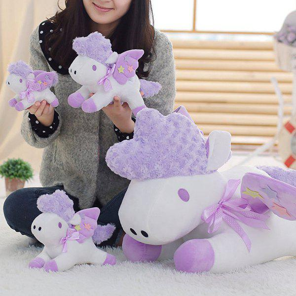 Unicorn Doll Japan Second Element Cute Simulation Horse Christmas Gift Horse One-horned Doll - PURPLE FLOWER 25CM