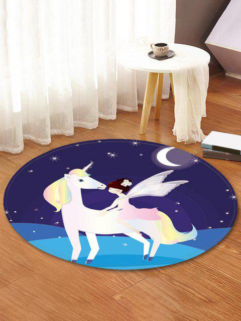 Unicorn Fairy Pattern Anti-skid Water Absorption Area Rug - multicolor 80CM (ROUND)