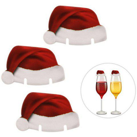 Christmas Party Supplies Hat Wine Glass Cards 10pcs - RED WINE
