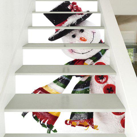 6 Stair Stickers Christmas Decoration Cute Snowman - multicolor 6PCS X 39 X 7 INCH( NO FRAME )