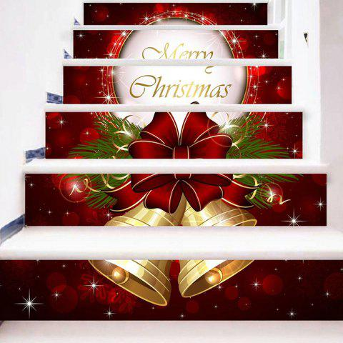 6 Stair Stickers Christmas Decorations Painted Christmas Bells - multicolor 6PCS X 39 X 7 INCH