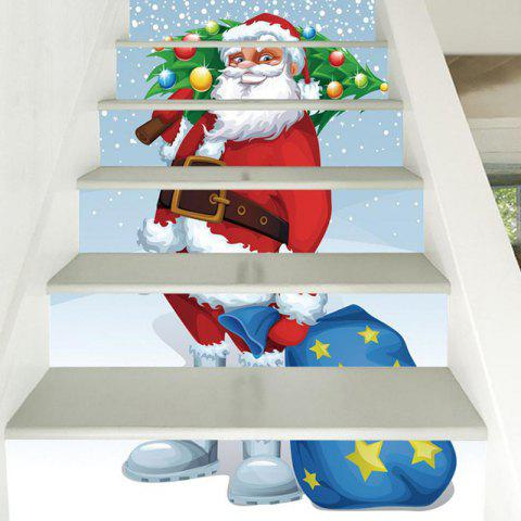 6 Stair Stickers Christmas Decoration Drawing Santa - multicolor 6PCS X 39 X 7 INCH( NO FRAME )
