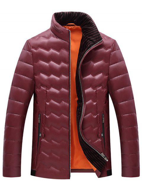 Collar Men Short Casual Down Jacket - RED WINE XL