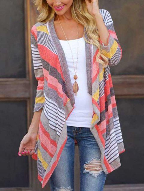 2 - SY222 Stripe Stitching Sleeve Cardigans - LAVA RED