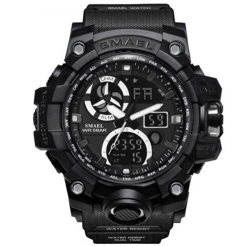 SMAEL 1545C Male Sports Waterproof Double Display Luminous Multi-function Electronic Watch - BLACK