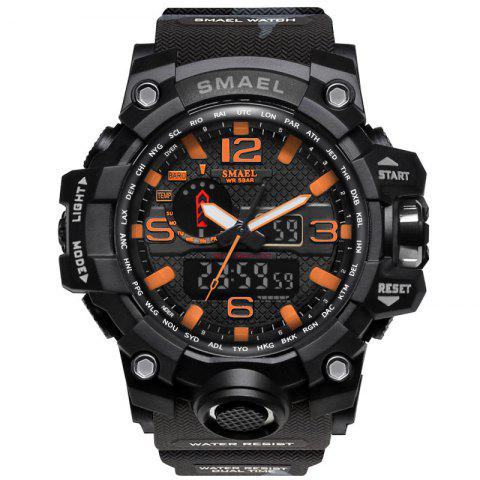 SMAEL 1545 Male Camouflage Sports Waterproof Double Display Multi-function LED Watch - ORANGE