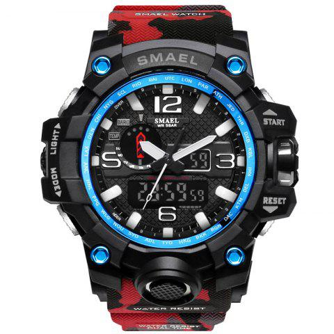 SMAEL 1545 Male Camouflage Sports Waterproof Double Display Multi-function LED Watch - RED