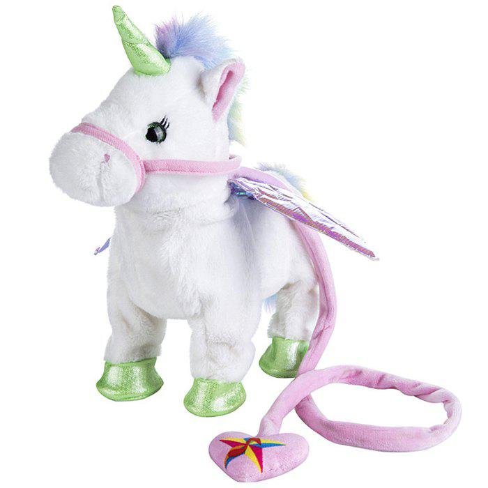 Cute Unicorn Leash Flying Horse Walk Electric Dragon Horse Plush Toy - WHITE